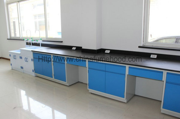 Cold Rolled Steel Lab Furniture Island Bench Smooth Frame 3000*1500*850mm