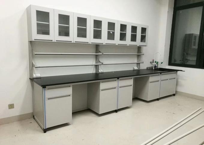 Science Wood Lab Furniture Bench All Steel Frame For Chemical Laboratory