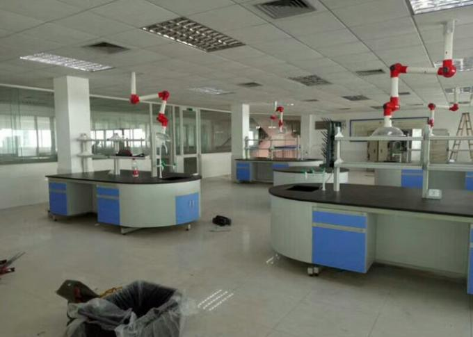 Chemical Wood Lab Furniture , Laboratory Island Bench With Reagent Shelf