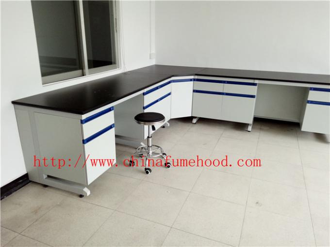 3000 mm White Anti Strongest Corrosion / Acid / Alkali Wood Lab Benches Furniture for University / College Laboratory
