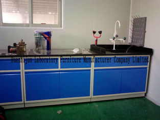 Blue Color All Steel Lab Furniture Table With Sink PP Pegboard / Adjustable Feet