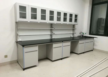 Grey White Laboratory Workbench Furniture All Steel Frame For High School / Hospital