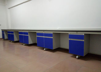 Square Steel And Wood Lab Furniture , Laboratory Wall Bench For School / Hospital