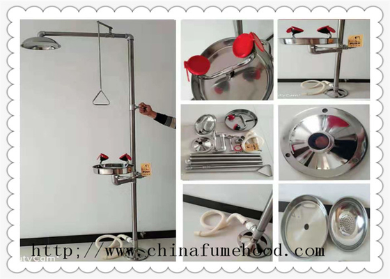 Floor Mounted Combination Laboratory Fittings Portable Safety Shower And Eyewash Station