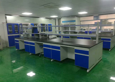 China Chemical Wood Lab Furniture , Laboratory Island Bench With Reagent Shelf distributor