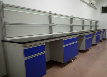China Wooden Lab Bench Furniture Customized Size With Anti Corrosion Handles distributor