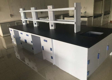 China College Steel Chemistry Lab Furniture / Laboratory Workbench With  Reagent Shelves Distributor